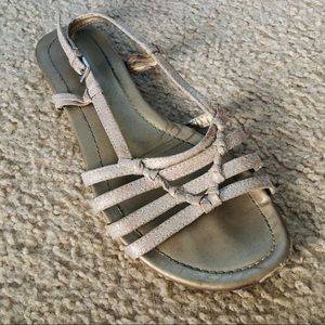 strappy gold sparkle flat sandals 7.5